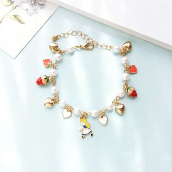 Kids Girls Gift Gold Color Heart Imatation Pearl Poker Strawberry Charms Alice in Wonderland Bracelet