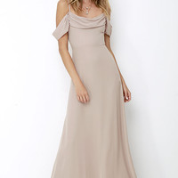 Reflective Radiance Taupe Maxi Dress