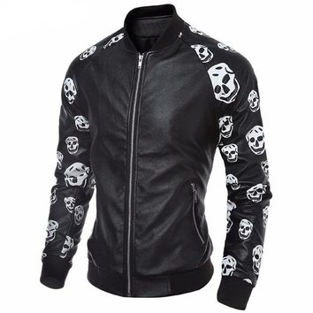 Autumn Faux Leather Skull Jacket Men Motorcycle Jacket