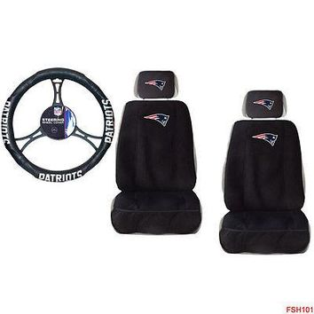 Licensed Official New NFL New England Patriots Car Truck 2 Front Seat Covers Steering Wheel Cover