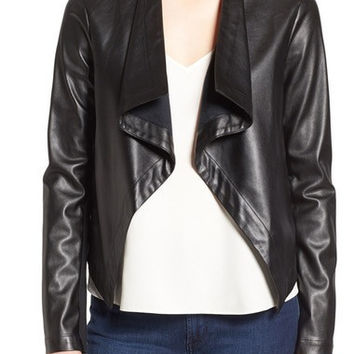 PEPPIN DRAPE FRONT FAUX LEATHER JACKET