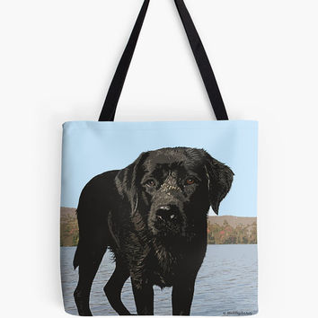 Black Labrador tote bag . Beach bag . Beach tote bag . Labrador gift  Labrador art  Photography  Vermont  Labrador tote bag Personalized