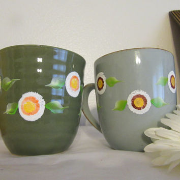 Unique Hand Painted By ME One of a Kind Floral Coffee Mugs Cups - HAPPY DOT Floral Design - Kitchen Decor - Great Gift Idea