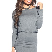 Casual Gray Long Sleeve Twisted-Back Dress