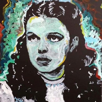 Wizard of Oz Judy Garland Dorothy 16x20 Movie Art Original Oil Painting Pop Art Painting Canvas Wall Art Valentines Day Gifts for Her