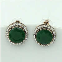 fashion 18K Rose Gold Plated Oval Emerald High Quality Crystal Stud Earrings for women