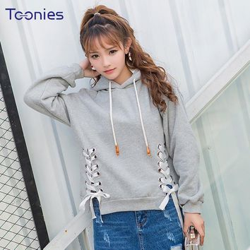 2018 New Fashion Women Cashmere Harajuku Hooded Sweatshirt Femme Long-sleevedd Pullove Cross Lace Up Streetwear Hoodie Sudadera