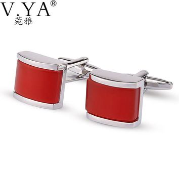 Luxury Business Red CuffLinks for Shirts Cuff links Exquisite Button High Quality Copper 1 Pair New Fashion Cuff-links XK42