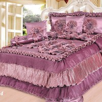 Tache 6 Pieces Solid Mauve Faux Satin Napa Vineyard Luxury Floral Comforter Quilt Set (BM5244)