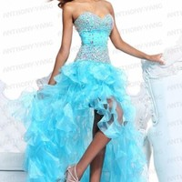 2013New Blue/Pink Organza Beading Sweetheart Bow Ruffled Prom Party Dress custom
