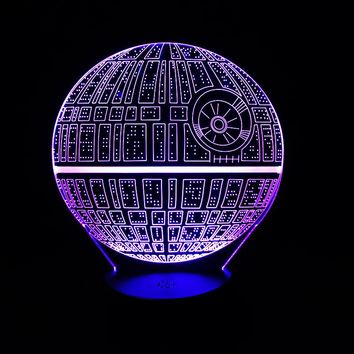Star Wars Death Star 3D Color Changing Table Lamp LED Night Light w/ or w/o Remote