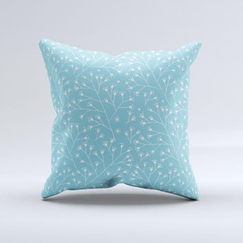 Blue and White Twig Pattern ink-Fuzed Decorative Throw Pillow