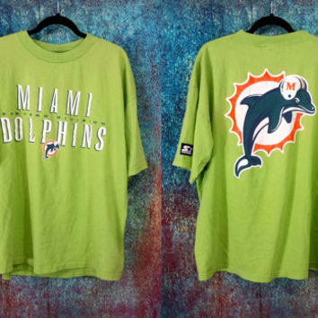 90s Miami Dolphins Starter T-shirt Vintage Football Team Shirt XL Retro NFL Worn Distressed Graphic Tee Athletic Sports Hip Hop Clothes