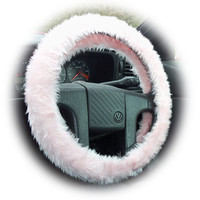 Baby pink Steering wheel cover & matching seatbelt pads fluffy furry fuzzy faux fur Girly girl Cute car pretty lady woman love valentine