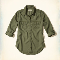 Military Button-Front Shirt