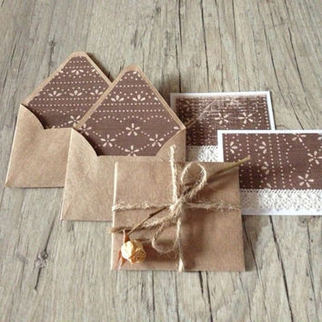 Small envelopes with cards - set of 5 mini envelopes - gift idea - brown coffee milk grey rustic-europeanstreetteam