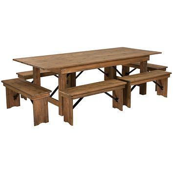 "HERCULES Series 8' x 40"" Folding Farm Table and Six Bench Set"