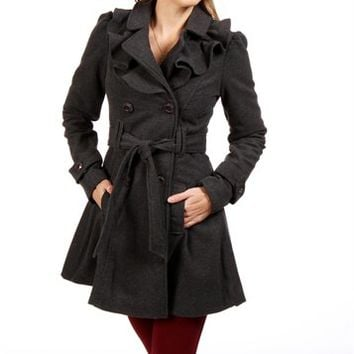 Dark Gray Ruffled Trench Coat