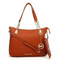 MK Simple Pure Color Leather Handbag Tote Shoulder Bag Wallet Purse Set Two-Piece Brown I