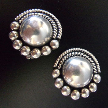 Sterling Silver Domed Earrings, Mexican Round Ornate Border, Vintage