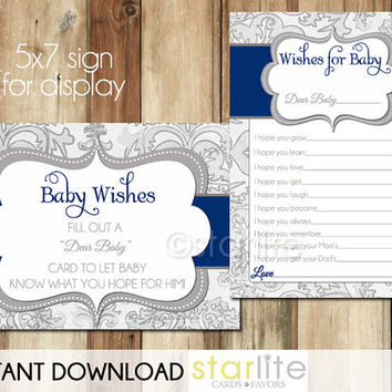 Well Wishes Card - Baby Shower Wishes for Baby - Navy Grey Shimmer - instant download - Baby Girl - shower game - PRINTABLE CARD DESIGN