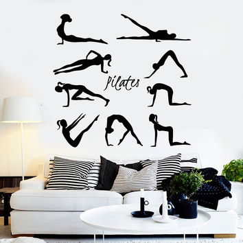 Vinyl Wall Decal Pilates Gymnastics Sport Healthy Lifestyle Stickers Unique Gift (ig4525)