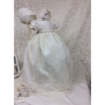 Christening Gown with Bonnet-Viviana