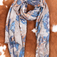 Entranced Floral Scarf, Taupe