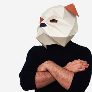 Make your own Bulldog Mask, Animal Head,Instant Pdf download, DIY New Year Mask, Printable Templates, 3D Polygon Masks, Printable Mask