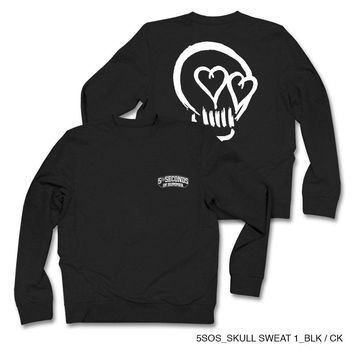 5 Seconds Of Summer Men's Black Skull Sweatshirt