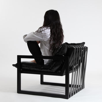 REZA Maple & Black Leather Chair