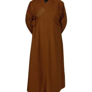 Shagnhai Story Men's Chinese Traditional Long Gown Shaolin Temple Zen Buddhist Meditation Monk Robe Kung Fu Costume