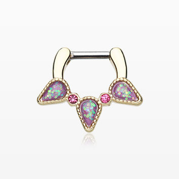 Golden Opal Sparkle Trident Septum Clicker