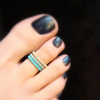 Stacking Toe Ring - Turquoise - Silver - Stretch Bead Toe Ring