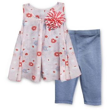 Pippa & Julie™ 2-Piece Floral Flyaway Tunic and Legging Set in Pink