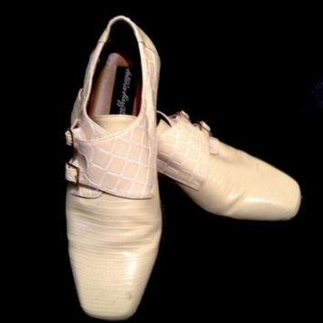 Antonio Mazzetti Men's Cream/Ivory Reptile Imprinted Dress Shoes. Sz 9.5