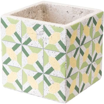 Green & Yellow Cement Flower Planter