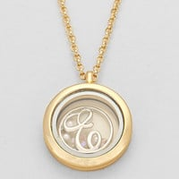"Floating Monogram ""E"" Necklace Gold"