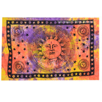 Tie Dye Celestial Sun and Moon Tapestry Wall Hanging on RoyalFurnish.com