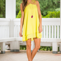 Strappy Go Lucky Dress, Chartreuse