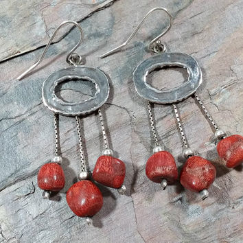 """Vintage Handmade 925 Sterling Silver Coral Earrings Dangles Hook Style Ear Wires Silver Box Chain """"Strings"""" with Red Coral and Silver Beads"""