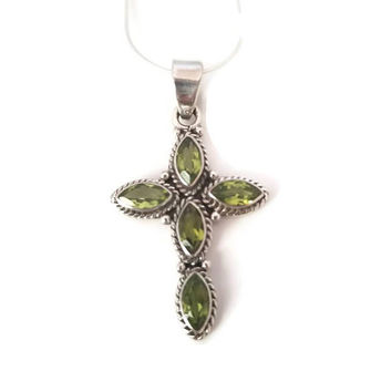Oxidized Peridot Cross Pendant - Necklace - Sterling Silver Cross Peridot Pendant - Gemstone Pendant - 925 Garnet Jewelry -August Birthstone