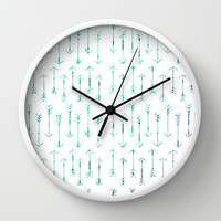 Teal Wall Clock - Teal Arrow Wall Clock - Choice of Frame Color - Made to Order