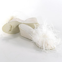 Vintage 1950s Feather Boudoir Slippers White Satin Mules Bombshell Burlesque Pinup Heels Barbie Glamour Movie Star Sandals Size 6.5/7.5