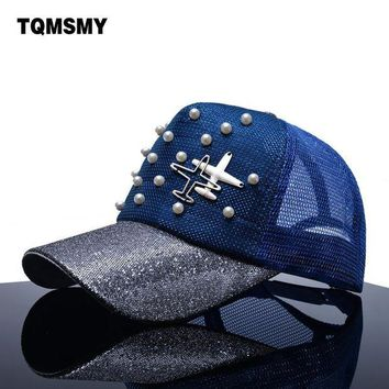 DCCKWJ7 TQMSMY Brand Snapback Baseball caps Women sun hat aircraft mesh Hip hop cap Summer gorras Pearl sequin bone Visor hats for women