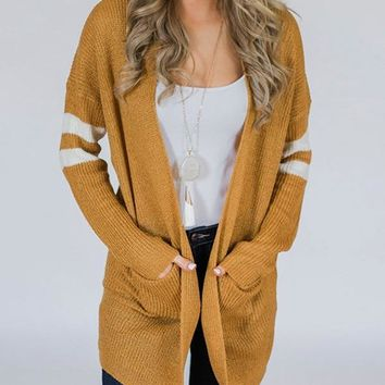 New Yellow Striped Pockets Long Sleeve Going out Casual Cardigan Sweater