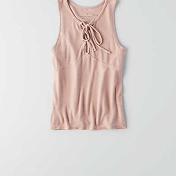 AEO Soft & Sexy Ribbed Lace-Up Tank , Pink