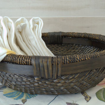 Round Wicker Basket, Dark Brown Wicker Basket, Large Decorative Woven Basket