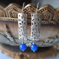 Sapphire Agate Textured Earrings