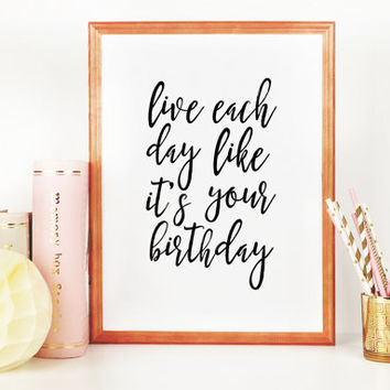 Party Sign Birthday Gift For Her Celebration Life Good Vibes Only Positive Vibes Kate Spade Quote Kate Spade Inspired Typography Print